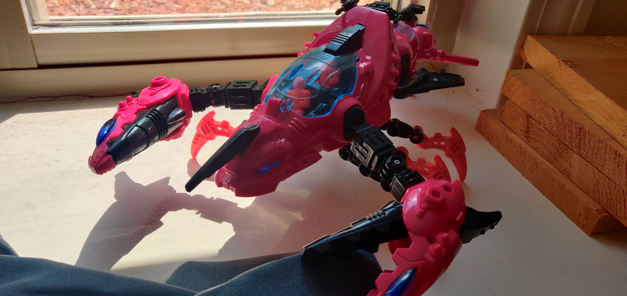 pink robotic lobster toy
